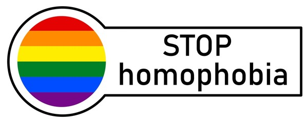 Sticker with Gay Rainbow Flag, STOP HOMOPHOBIA, on white background