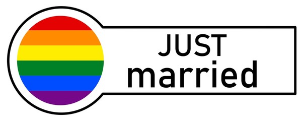 Sticker with Gay Rainbow Flag, JUST MARRIED, on white background