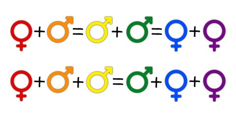 Concept of equation or gender symbol confusion with rainbow arrows, couple selection