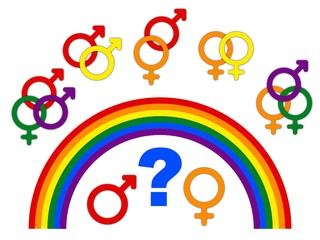 Concept of choice or gender symbol confusion with rainbow arrows, couple selection