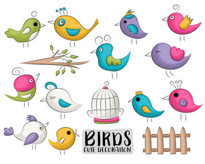 Cute birds set of icons and objects. Hand drawn doodle cartoon style spring and summer tropical design concept. Vector illustration.