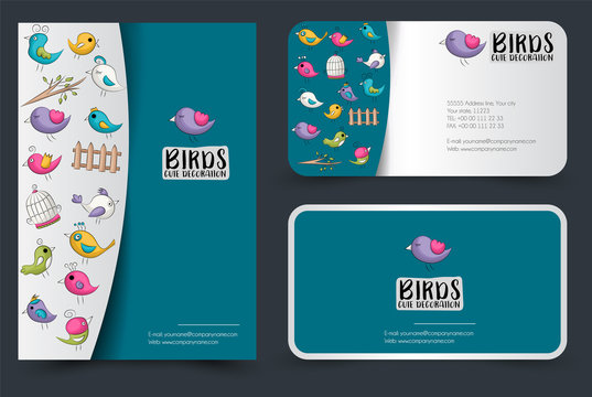 Cute birds flyer and business cards set. Background for advertisement, invitation, brochure template. Hand drawn doodle cartoon style spring and summer tropical concept. Vector illustration.