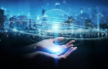 Businesswoman using digital sphere connection hologram 3D rendering