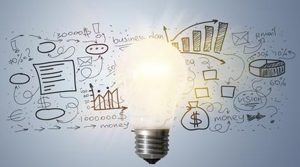 Light bulb banner, marketing concept, business idea. info Wall mural