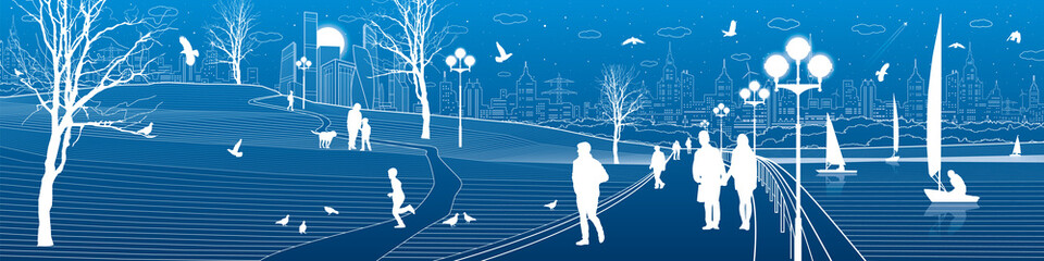 City embankment. People walk along the sidewalk. Evening illuminated park. Kids are playing. Birds are flying. Modern night town on background. Vector design art