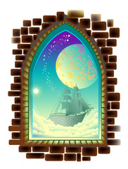 Fantasy Gothic window with fairyland space view. Vector cartoon image.