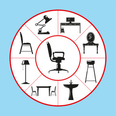 A set of vector icons in the form of a pie chart on the theme of home furniture. Vector illustration.