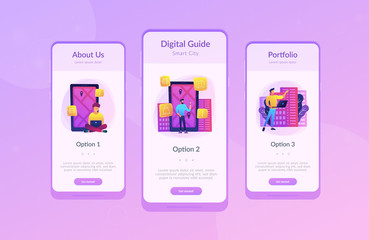 Mobile app ui design. Man near screen with city map and gps tags on the screen getting city information. Mobile center, IoT, smart city concept. Vector concept illustration on ultraviolet background.