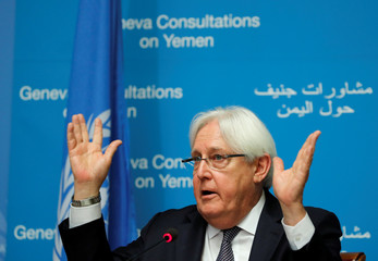 UN envoy Griffiths attends a news conference ahead of Yemen talks in Geneva