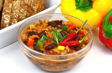 chili with meat or (German name is Chili con carne). chili,ground pork and red bean and corn menu.