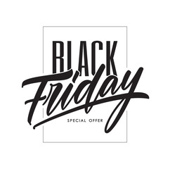 Vector illustration: Typography template with hand lettering of Black Friday. Special offer