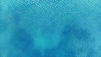 Aerial. Blue water background texture.