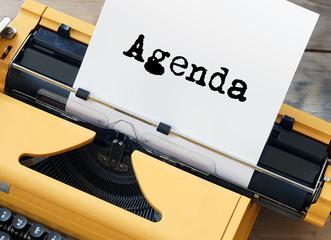 Agenda auf Schreibmaschine