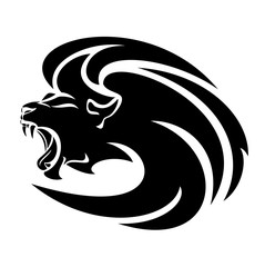 roaring lion head vector design - black and white furious animal portrait