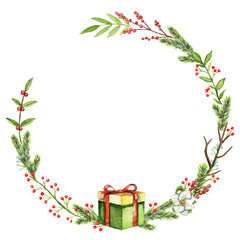 Round Christmas wreath with berries, twigs, gift box, leaves and spruce branches isolated on white background. Watercolor hand drawn illustration