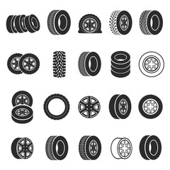 Tires and wheels icon set vector illustration