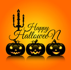 Design of Happy Halloween text for halloween day and card or background