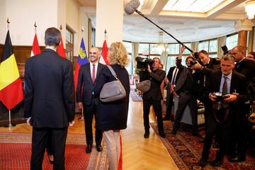 Swiss President Alain Berset welcomes Crown Prince Alois of Liechtenstein and Princess Sophie of Liechtenstein prior to a meeting of German-speaking presidents in Sils Maria