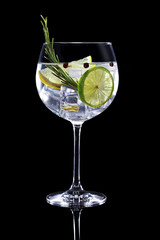 Tuinposter Cocktail gin tonic garnished with citrus fruit and rosemary isolated on black background