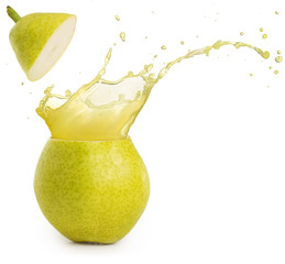 Wall Mural - juice splashing out of a green pear isolated on white background