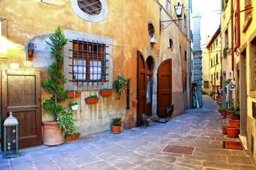 Fototapete - Traditional Italy - old narrow streets of medieval town Siena in Tuscany