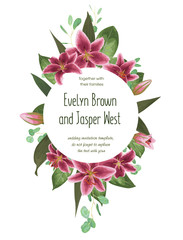 Wedding floral invitation, invite card. Vector watercolor style herbs, eucalyptus, tender burgundy, pink lilly, natural, botanical green decorative round frame, border
