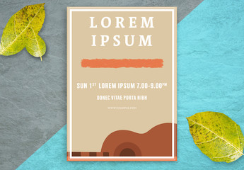 Flyer Layout with Guitar Illustration