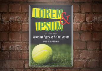 Flyer Layout with Tennis Ball Image