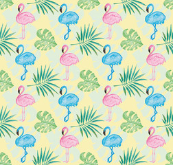 Tropical pattern with yellow background and watercolor painted pink and blue  flamingo