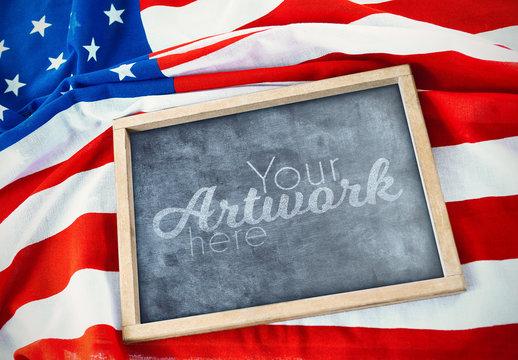 Blackboard Mockup on American Flag