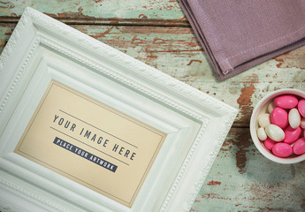 White Picture Frame Mockup on Table