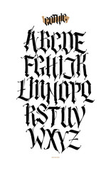 Gothic, English alphabet. Font for tattoo, personal and commercial purposes. Elements isolated on white background. Calligraphy and lettering. Medieval Latin letters.