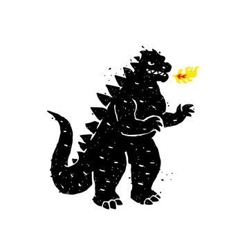 Illustration of fire-breathing, dragon, dinosaur.  A hero for a site, a banner or a store. Image is isolated on white background. Angry, but very cute character. Mascot.