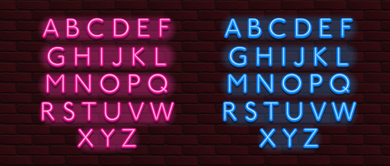 Neon Banner alphabet font bricks wall