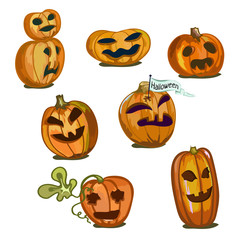 Pumpkins of different sizes and shapes for Halloween