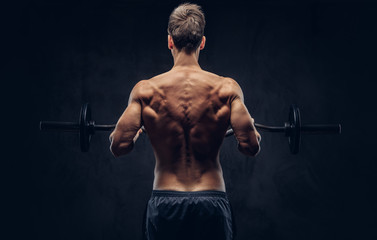 Back view of shirtless man with stylish hair and muscular ectomorph doing the exercises with the barbel