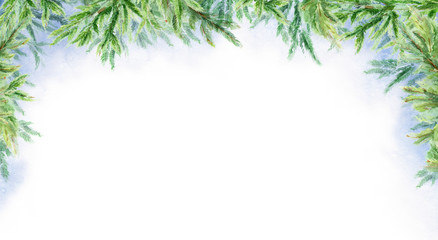 Watercolor abstract winter horizontal background. Branches of fir. Winter landscape.