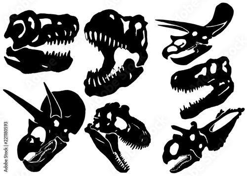 f8abe547994d2 Graphical set of dinosaur skulls isolated on white, vector tattoo  illustration