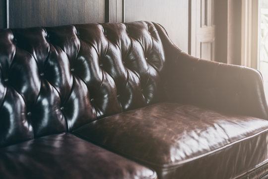 closeup of detail leather sofa color tone