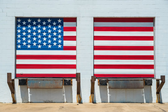 The United States of America flag painted onloading/unloading warehouse dock doors