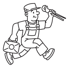 Plumber or repairman with the tools is running