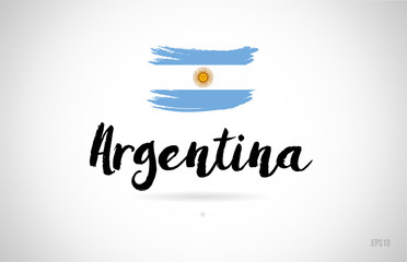 argentina country flag concept with grunge design icon logo