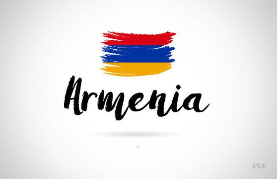 armenia country flag concept with grunge design icon logo