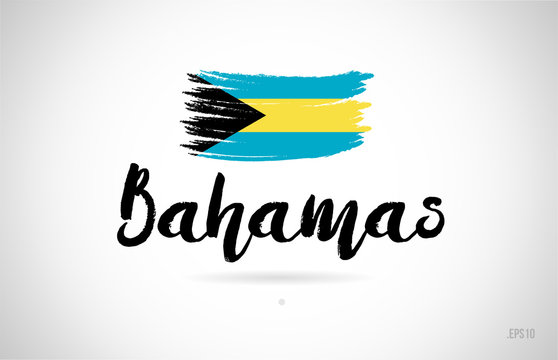 bahamas country flag concept with grunge design icon logo