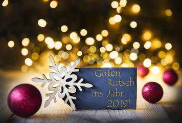 Christmas Background, Lights, Guten Rutsch Means Happy New Year 2019