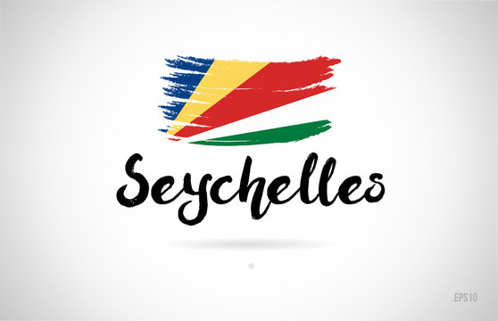 seychelles country flag concept with grunge design icon logo