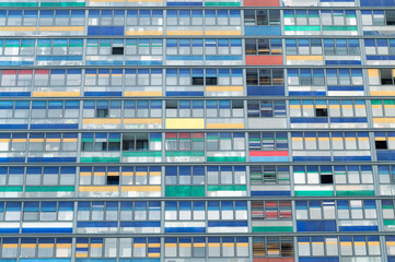 Architectural residential tower with colours on balconies