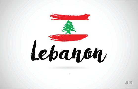 lebanon country flag concept with grunge design icon logo