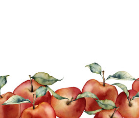 Watercolor card with apples. Hand painted border with red apples and leaves isolated on white background. Botanical food illustration for design, print or background