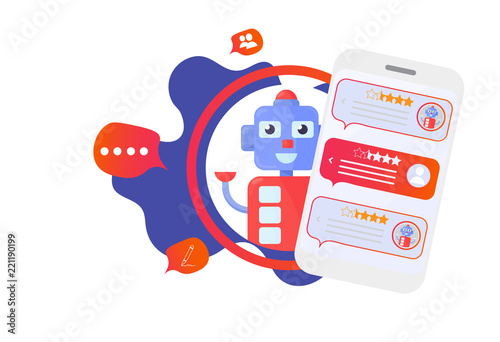 Isolated Chatbot advisor vector illustration: cute automatic chat